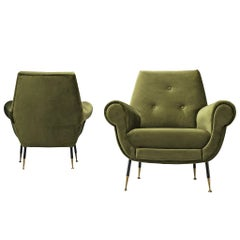 Recently Upholstered Italian Lounge Chairs in Green Velvet and Brass
