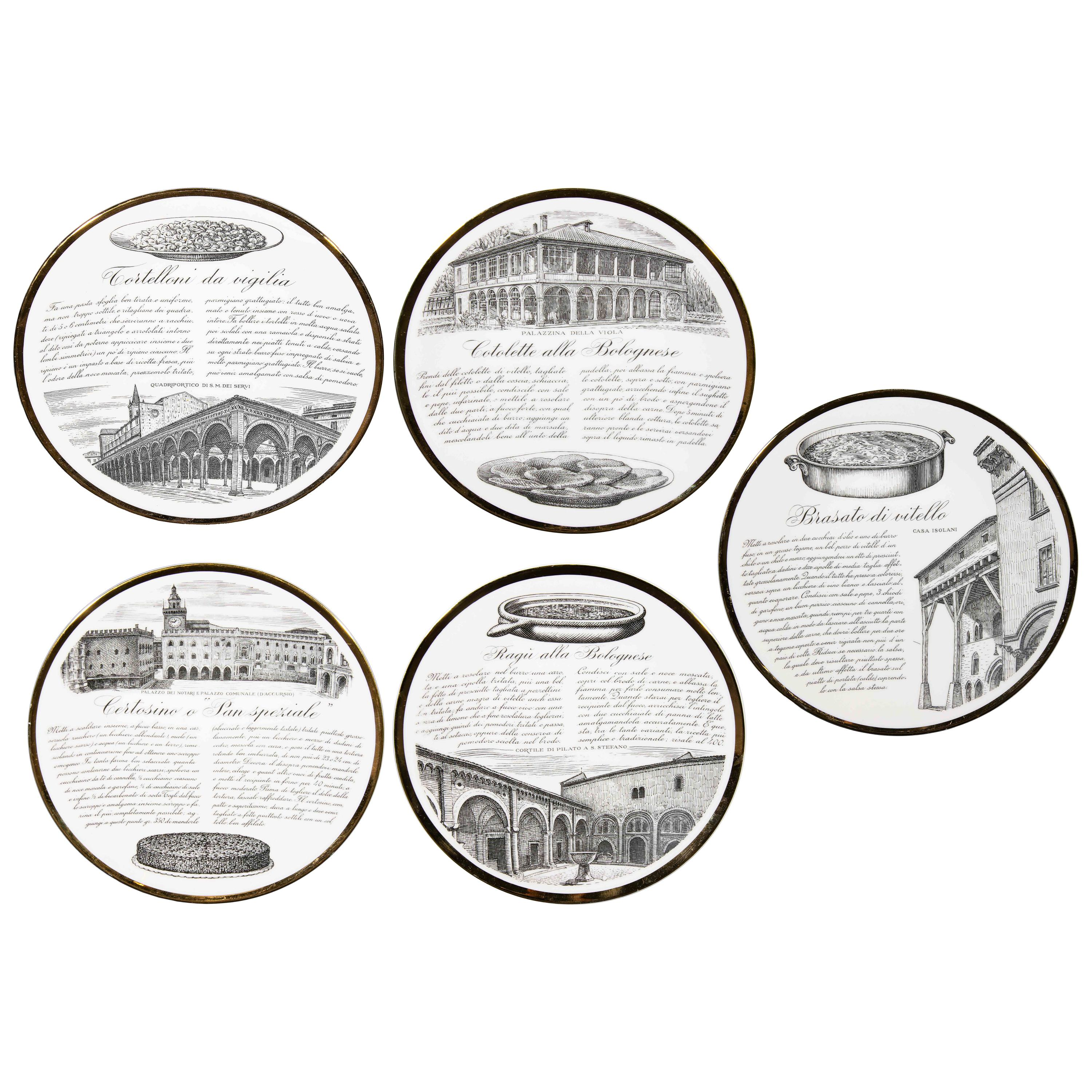 Recipes, Set of 5 Vintage Plates by Piero Fornasetti, 1960s