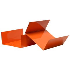 Reclaimed 1960s Aluminum Paper Tray or Desktop Organizer Refinished in Orange