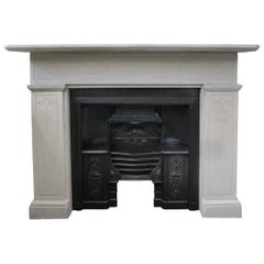 Reclaimed 19th Century Carved Stone Fire Surround