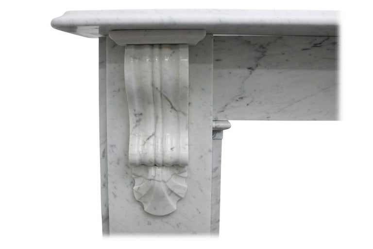 English Reclaimed 19th Century Victorian Carrara Marble Fireplace Surround For Sale