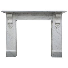 Reclaimed 19th Century Victorian Carrara Marble Fireplace Surround