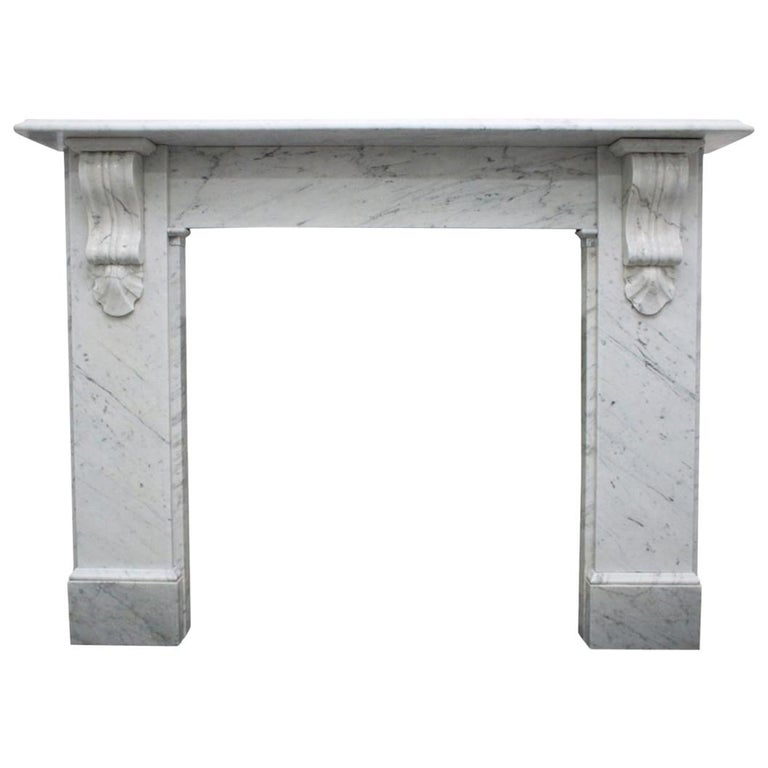 Reclaimed 19th Century Victorian Carrara Marble Fireplace Surround For Sale