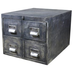 Reclaimed 4-Drawer Distressed Metal Cabinet, 20th Century