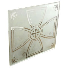 Reclaimed Acid Etched Glass Panels, 20th Century