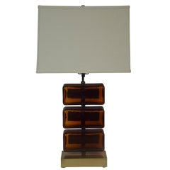Reclaimed Amber Glass Block Table Lamp