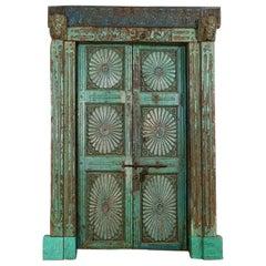 Reclaimed Antique Double Door in Frame, 20th Century