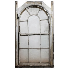 Reclaimed Arched Wooden Sash Window and Frame, 20th Century