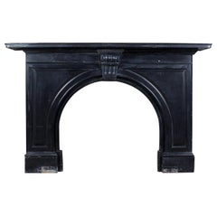 Reclaimed Black Marble Fireplace, 20th Century