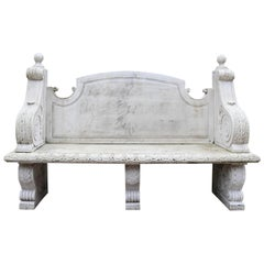 Reclaimed Carved Marble Bench / Garden Seat