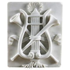 Reclaimed Carved Marble Trumpet Harp Plaque, 20th Century