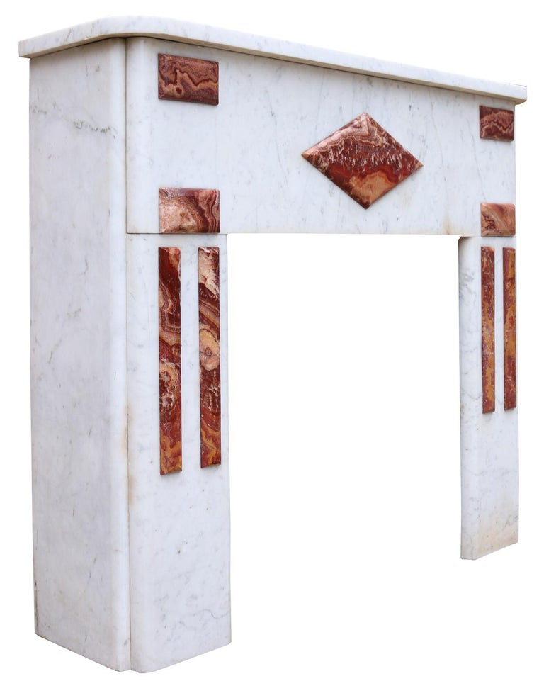English Reclaimed Century French Carrara Marble Fire Surround For Sale