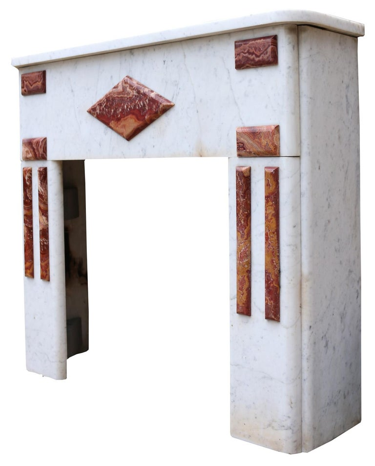 Reclaimed Century French Carrara Marble Fire Surround In Fair Condition For Sale In Wormelow, Herefordshire