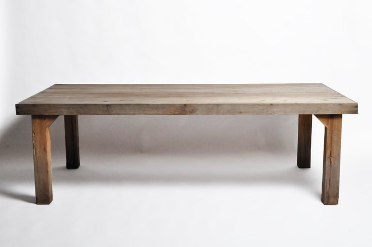 This newly made dining table is from Chiang Mai, Thailand, and was made from champaca wood (a type of hardwood from Thailand). Strong and sturdy this table can be used indoor or outdoor. The table is sold as is, customer can change the color and