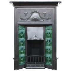 Reclaimed Edwardian Art Nouveau Cast Iron Combination Fireplace