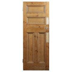 Reclaimed Four Beaded Panel Pine Door, 20th Century