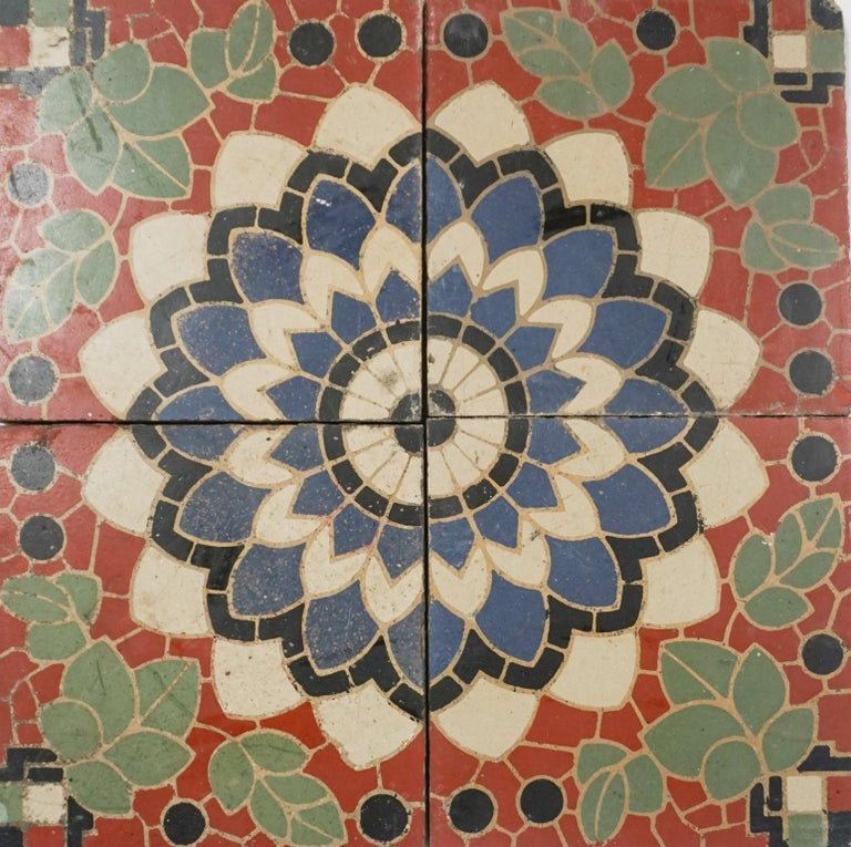 Reclaimed French Painted Flooring, circa 1900 In Good Condition For Sale In Dallas, TX