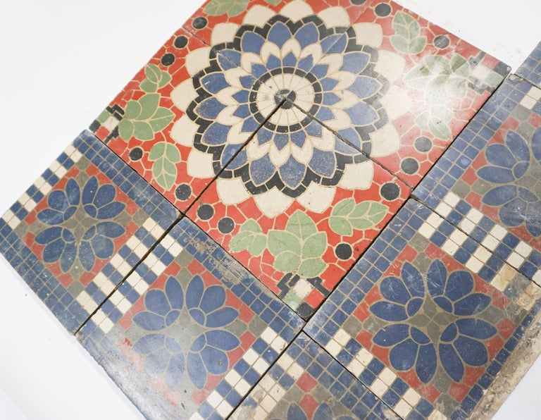 Terracotta Reclaimed French Painted Flooring, circa 1900 For Sale