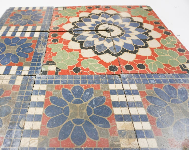 Reclaimed French Painted Flooring, circa 1900 For Sale 1