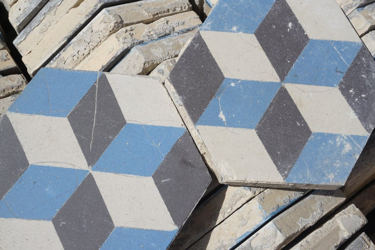 French Reclaimed Geometric Flooring Tiles, circa 1900 Blue Black and White For Sale