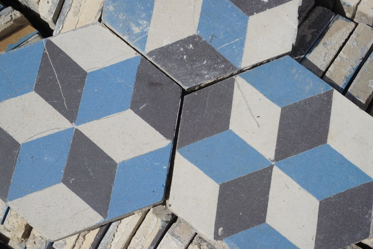 Reclaimed Geometric Flooring Tiles, circa 1900 Blue Black and White In Excellent Condition For Sale In Dallas, TX