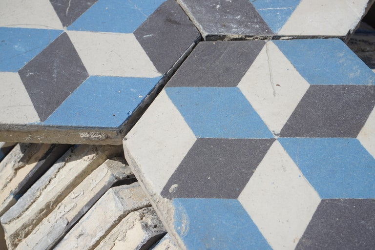 20th Century Reclaimed Geometric Flooring Tiles, circa 1900 Blue Black and White For Sale