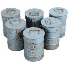 Reclaimed Grey Rustic Canisters with Lids, 20th Century