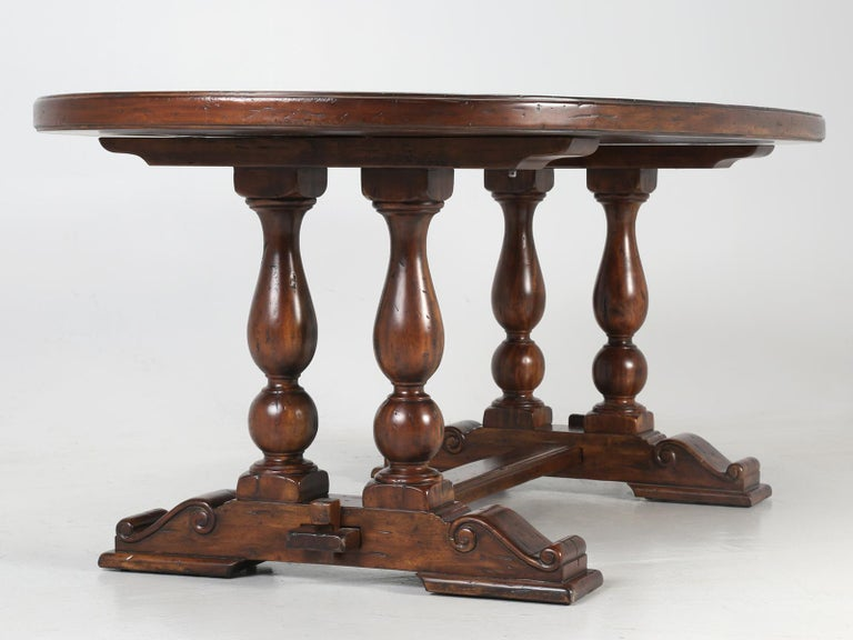 Reclaimed Hardwood Oval Dining Table For Sale 7