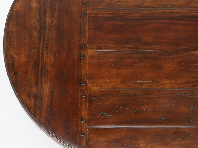Contemporary Reclaimed Hardwood Oval Dining Table For Sale