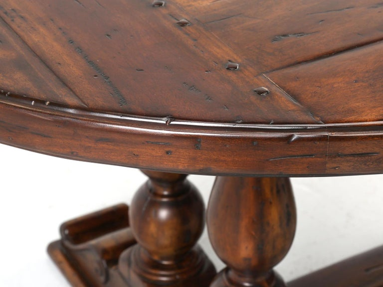 Reclaimed Hardwood Oval Dining Table For Sale 3
