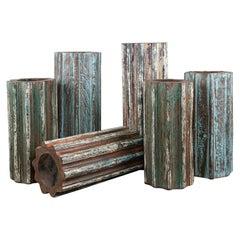 Reclaimed Hardwood Pillar Candlestands, 20th Century