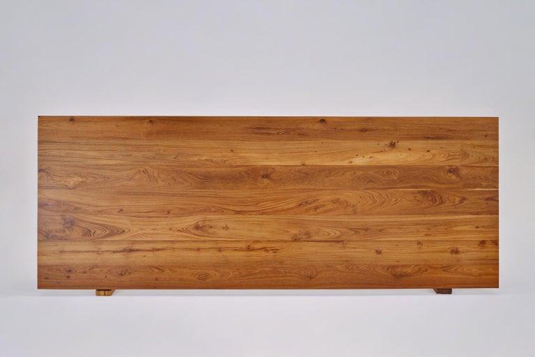 Reclaimed Hardwood Table, Golden Sand Brass Base by P. Tendercool For Sale 3