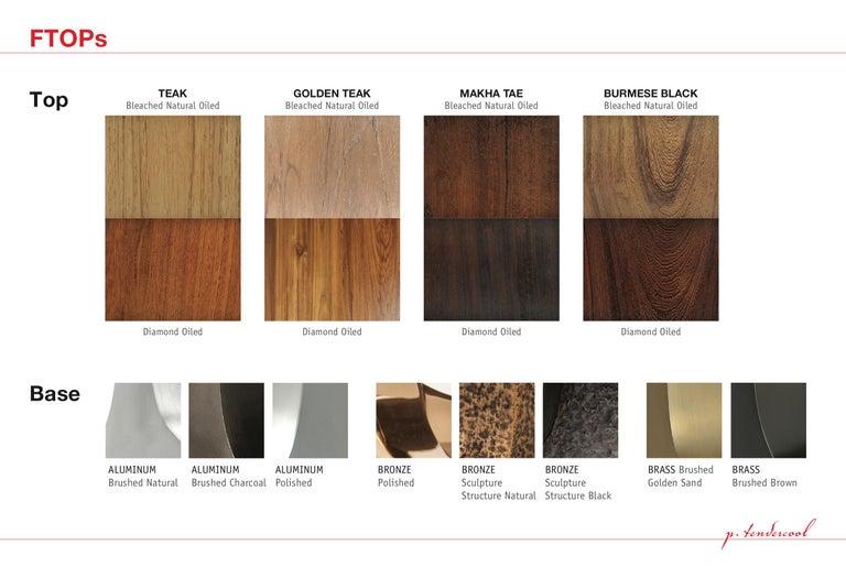 Reclaimed Hardwood Table, Golden Sand Brass Base by P. Tendercool For Sale 4