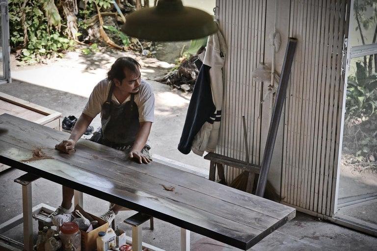 Reclaimed Hardwood Table, Golden Sand Brass Base by P. Tendercool For Sale 5