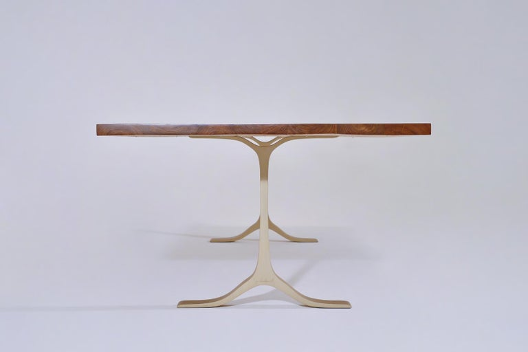 Minimalist Reclaimed Hardwood Table, Golden Sand Brass Base by P. Tendercool For Sale