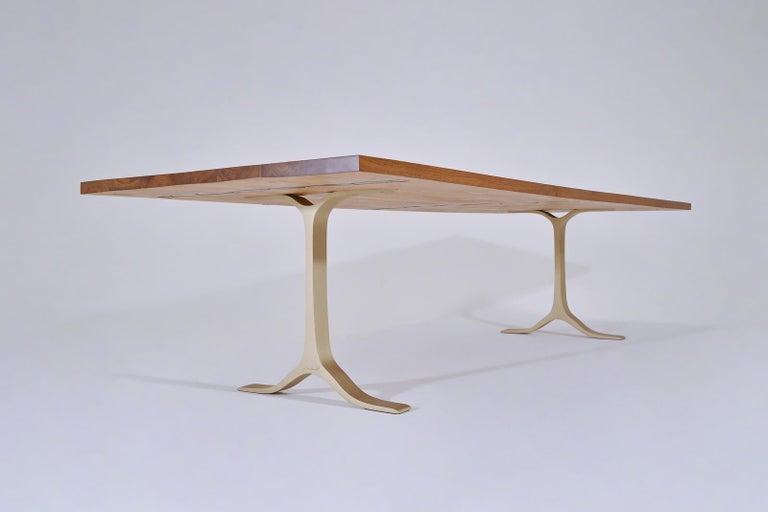 Thai Reclaimed Hardwood Table, Golden Sand Brass Base by P. Tendercool For Sale