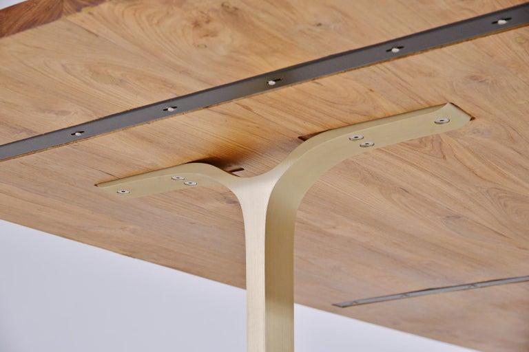 Cast Reclaimed Hardwood Table, Golden Sand Brass Base by P. Tendercool For Sale