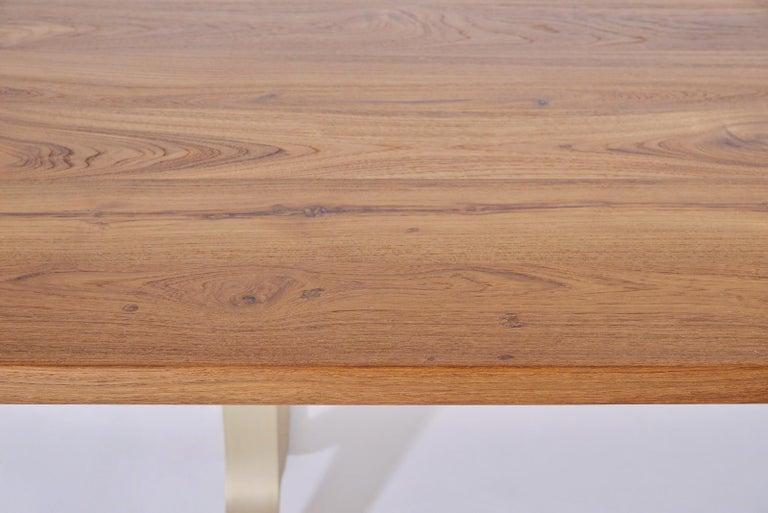 Reclaimed Hardwood Table, Golden Sand Brass Base by P. Tendercool For Sale 1