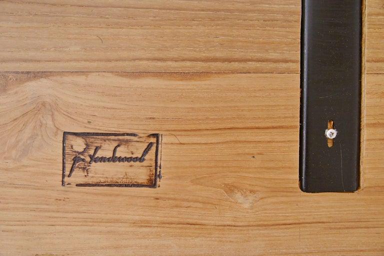 Reclaimed Hardwood Table, Golden Sand Brass Base by P. Tendercool For Sale 2