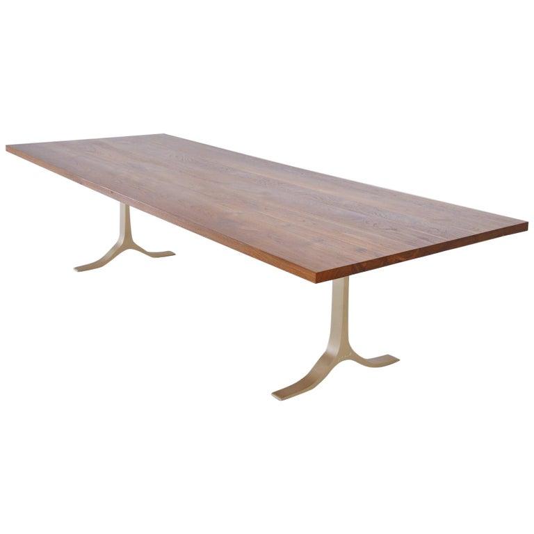 Reclaimed Hardwood Table, Golden Sand Brass Base by P. Tendercool For Sale