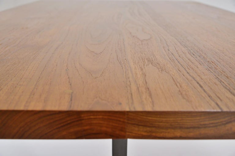 Contemporary Reclaimed Hardwood Table, Sand Cast Aluminium Base by P. Tendercool For Sale