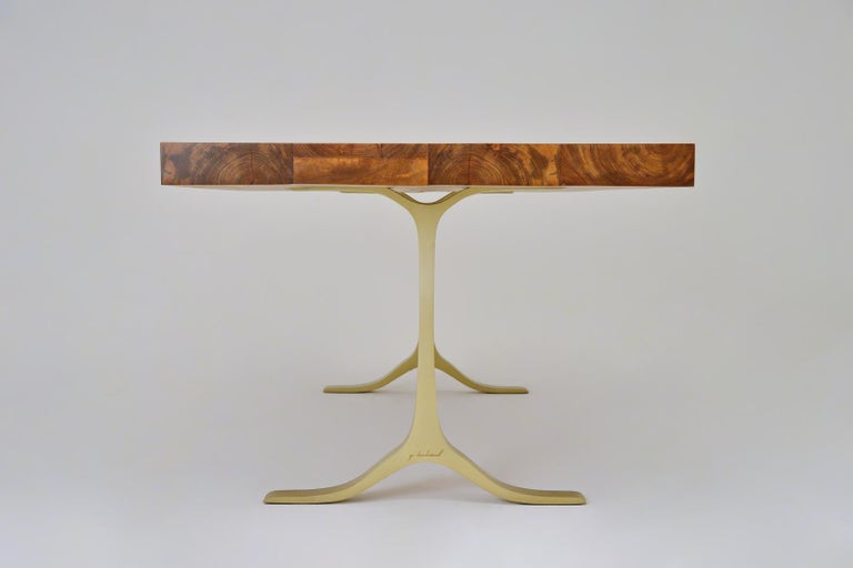 Minimalist Reclaimed Hardwood Table, Sand Cast Brass Base by P. Tendercool For Sale