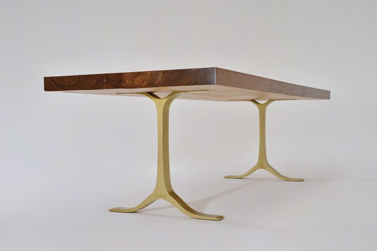Thai Reclaimed Hardwood Table, Sand Cast Brass Base by P. Tendercool For Sale