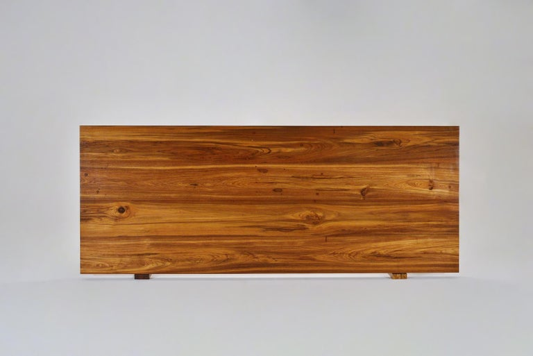 Reclaimed Hardwood Table, Sand Cast Brass Base by P. Tendercool For Sale 2