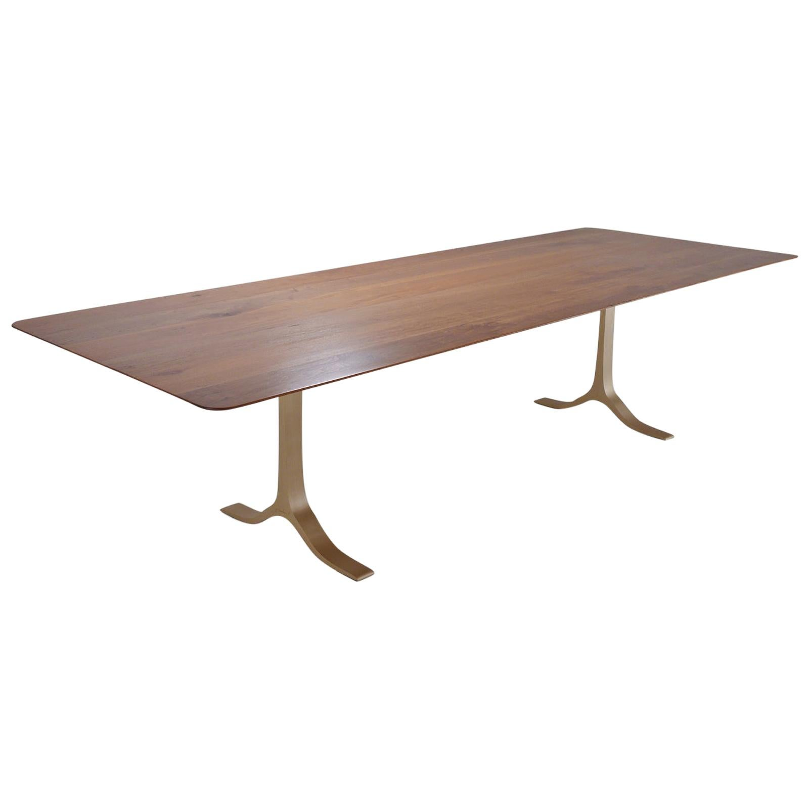 Bespoke Dining Table, Reclaimed Wood, Sand Cast Brass Base, by P. Tendercool