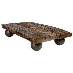Reclaimed Historic Oak Wood Rectangular Coffee Table