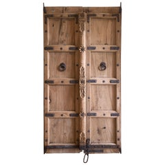Reclaimed Indian Carved Teak Door/Gate with Iron Details
