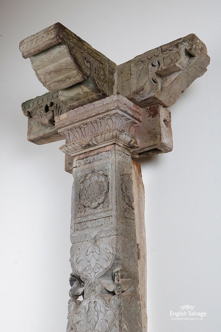 Reclaimed Indian Hardwood Pillar with Carving, 20th Century In Good Condition For Sale In London, GB