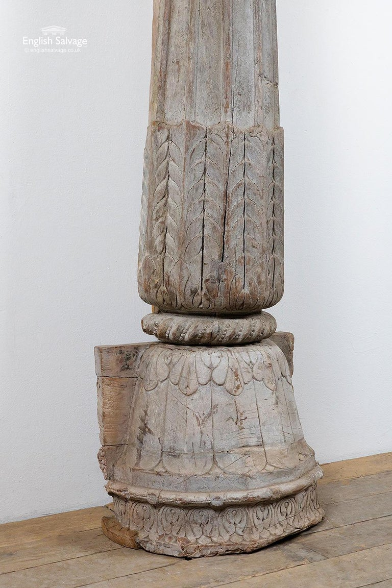 Reclaimed Indian Hardwood Pillar with Carving, 20th Century For Sale 2