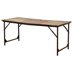 Reclaimed Iron and Hardwood Folding Table, 20th Century